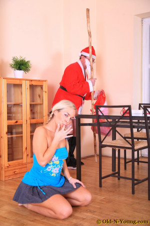 Santa fucks a tight blonde teen girl