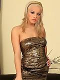 Elegant blonde strips fingers and dildos shaved pussy inside