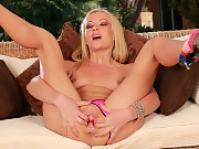 Hot blonde deeply fingers and dildos her tight pussy and ass