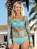 Luscious blonde undresses and dildos slick quim in garden