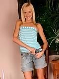 Delightful blonde teen strips and dildos her sweet twat