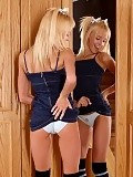 Charming blonde teen works ben wa balls into her pink twat