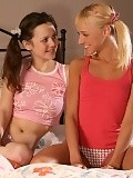 Cute teens lick in sixtyniner and dildo bald pussies in bed