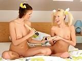 Lusty teen cuties lick and dildo twats in bedroom sixtyniner