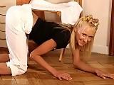 Bendy blonde locks her legs behind her head and fingers twat
