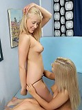 Blonde cuties lovingly kiss fist and dildo tight pussies
