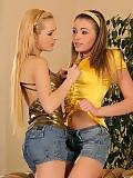 Luscious teen beauties kiss strip and tongue pink twats