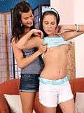 Brunette teen cuties undress kiss and spread bald quims