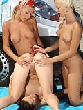 Alluring sirens undress tongue and dildo pussies and asses