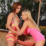 Sultry teen vixens undress kiss and have sex by outdoor bar