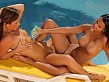 Sunbathing hotties oils up and finger bald pussies poolside