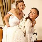 Victorian dressed sirens nude and make sweet love in bed