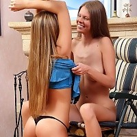 Limber teens undress and deeply finger fuck pink pussies