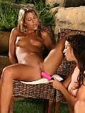 Blonde and brunette nymphs strip lick and dildo tender twats