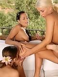 Three hot ladies lick and dildo twats and butts on veranda
