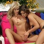 Sunbathing teen vixens nude lick and strapon fuck hot twats