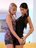 Busty vixens undress kiss and tongue fresh twats on sofa