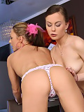 Gorgeous lesbians undress kiss and eat out sweet pussies