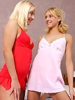 Heavenly blondes strip off nighties lick and strapon fuck