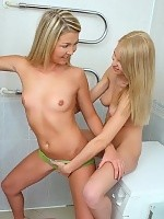 Cute teens nude and strapon fuck fresh pussies on washer