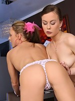 Brunette hotties strip lick and finger beautiful pussies