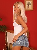 Blonde bombshell strips spreads and dildos tight snatch