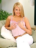 Angelic blonde shows pink pussy and deeply dildos on sofa