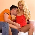 Sensual blonde sucks and rides hard cock to facial climax