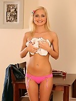Heavenly blonde strips and probes pink snatch with dildo