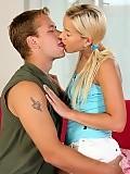 Enchanting blonde teen licks and fucks studs rock hard cock