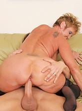 Honey Ray  Cock hungry Anilos grandma wears heels and stockings as she fucks her boss