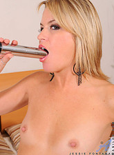 Jessie Fontana  Horny Anilos Jessie Fontana masturbates with a dildo after stripping out of her lingerie