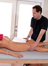 Karen Fisher  Karen Fisher loves her massage session complete with finger pleasure for her pussy