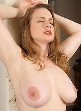Glamorous Anilos cougar pulls off her sheer black pantyhose exposing her sweet pussy