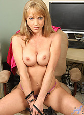 Shayla LaVeaux  Busty brunette milf Shayla Laveaux shows off her needy cougar pussy in the office