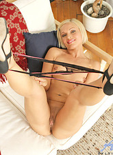 Szilvia Lauren  Petite blonde cougar spreads her sugary pussy flirtatiously
