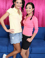 Sandy and Jessica - Petite brunette teens Sandy and Jessica strip and fuck on camera