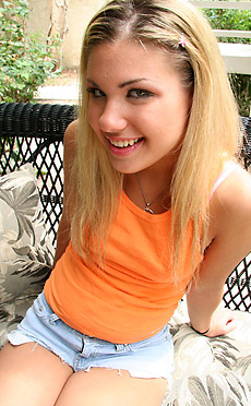 Aubrey - Small tits tight bodied blonde teen Aubrey Addams blowjob and riding your big dick