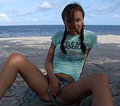 Alexis Capri - Cute brunette teen Alexis Capri sucks and fucks