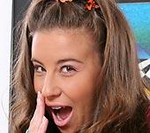 Kelly - Brunette jailbait Kelly Kline tease and blowjob
