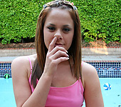 Savannah - Tight bodied adorable brunette teen Savannah Stern giving head and sofa sex