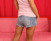 Jennifer Valentino - Flirty young teen Jennifer does cowgirl and doggy