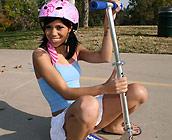 Jerri Lee - Flirty young Jerri rides a huge cock