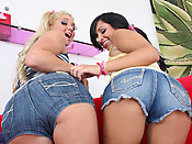 Jessie and Kim - Slutty teen girlfriends playing with a big cock