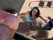 Missy Stone - Cute brunette gets suprised by huge load of cum!