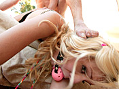Eden Adams - Snotty blonde bitch is taught hard lessons from two perverts
