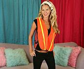 Heidi Brooks - Hot Blonde gives blowjob on sofa