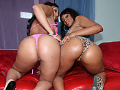 Blue Diamond & Alexa Cruz - Double the Giant Black Booties getting fucked!