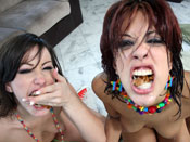 Layla Storm - Layla Storm gets her face covered in huge loads of jizz!