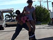 Skinny girl in leggings gets sharked - Skinny girl in leggings gets sharked
